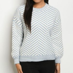 Sweaters - Striped Pullover Knit Blue Sweater